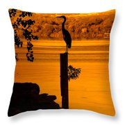 Bay At Sunrise - Heron Throw Pillow