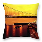 Bay Bridge Black And Orange Throw Pillow
