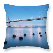 Bay Bridge Blues, San Francisco Throw Pillow