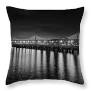 Bay Bridge San Francisco California Black And White Throw Pillow