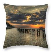 Bay Bridge Sunset Throw Pillow