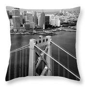 Bay Bridge Tower And San Francisco Skyline Throw Pillow