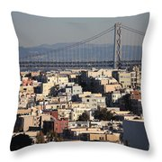 Bay Bridge With Houses And Hills Throw Pillow