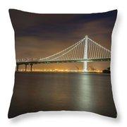 Bay Bridge's Eastern Span Replacement At Night Throw Pillow