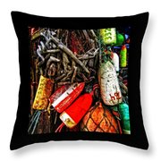 Bay Front Buoys Throw Pillow