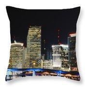 Bay Front Miami Skyline Throw Pillow