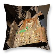 Bay Horse Cafe Sign Throw Pillow