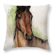 Bay Horse Portrait Watercolor Painting 02 2013 Throw Pillow