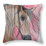 Bay Horse Watercolor Throw Pillow