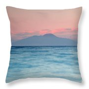 Bay Of Naples And Vesuvius From Capri Throw Pillow