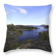 Bay Of The Baltic Sea And Pine Trees Throw Pillow