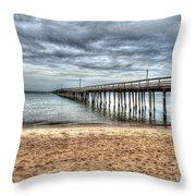 Bay Side Lynnhaven Fishing Pier Throw Pillow
