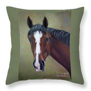 Bay Thoroughbred Horse Portrait Ottb Throw Pillow
