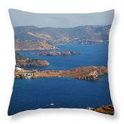 Bay View On Patmos Island Greece Throw Pillow