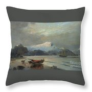 Bay With Boats Throw Pillow