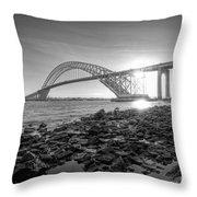 Bayonne Bridge Black And White Throw Pillow