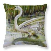 Bayou Caddy Great Egret Throw Pillow