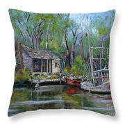 Bayou Shrimper Throw Pillow
