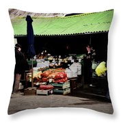Bazaar On The Outskirts Of A Small Town Throw Pillow