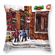 Scenes De Rue De Montreal St Henri Partie De Hockey En Hiver Hockey At Dilallo's Burger Throw Pillow