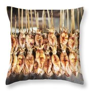 Bbq Asian Grilled Squid In Kep Market Cambodia Throw Pillow