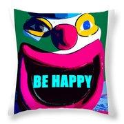 Be Happy Clown 2 Throw Pillow