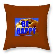 Be Happy Dino Throw Pillow