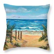 Beach Access Throw Pillow