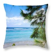 Beach Among The Trees Throw Pillow