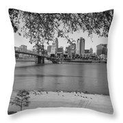 Beach An Cincinnati Skyline  Throw Pillow