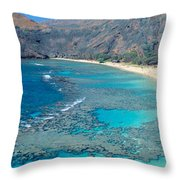 Beach And Haunama Bay, Oahu, Hawaii Throw Pillow