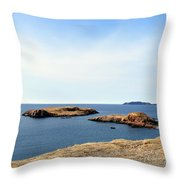 Beach And Rocky Shoreline Throw Pillow