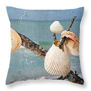 Beach Art - Seashell Shrine - Sharon Cummings Throw Pillow