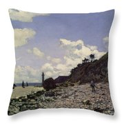 Beach At Honfleur Throw Pillow