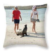 Beach  At Santa Fe Island In Galapagos Throw Pillow
