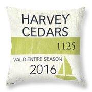 Beach Badge Harvey Cedars Throw Pillow