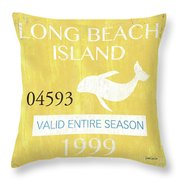 Beach Badge Long Beach Island 2 Throw Pillow