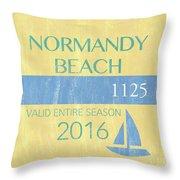 Beach Badge Normandy Beach 2 Throw Pillow