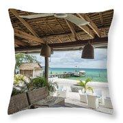 Beach Bar In Sok San Area Of Koh Rong Island Cambodia Throw Pillow