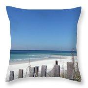 Beach Behind The Fence Throw Pillow