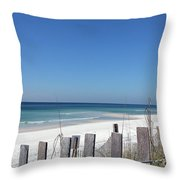 Beach Behind The Fence Throw Pillow