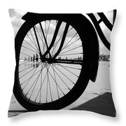 Beach Bicycle Throw Pillow