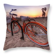 Beach Bike Throw Pillow