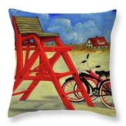 Beach Bikes Throw Pillow