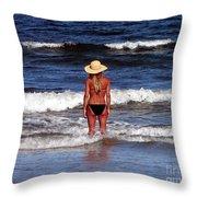 Beach Blonde - Digital Art Throw Pillow
