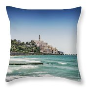 Beach By Jaffa Yafo Old Town Area Of Tel Aviv Israel Throw Pillow