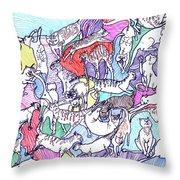 Beach Cats Throw Pillow