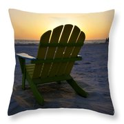 Beach Chair Sunset Throw Pillow