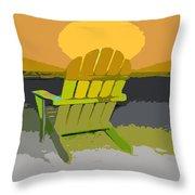 Beach Chair Work Number Seven Throw Pillow