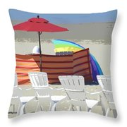 Beach Chairs Throw Pillow by Lori Seaman